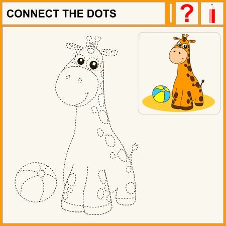 conundrum: Connect the dots, preschool exercise task for kids, cheerful giraffe
