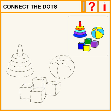 task: Connect the dots, preschool exercise task for kids, toys