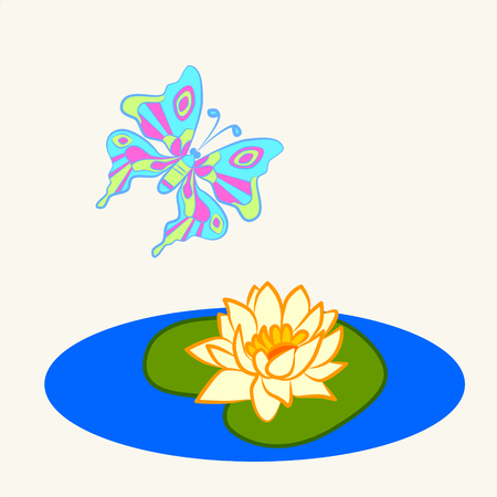 Fun zoo. Cartoon vector Illustration of cute butterfly and water lily