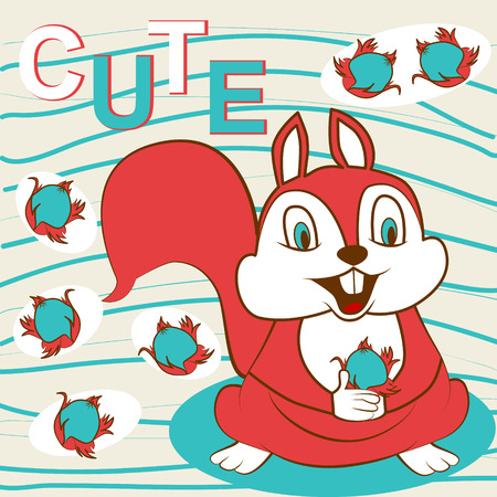 red squirrel: Cute red squirrel and funny nuts. Vector illustration. Illustration