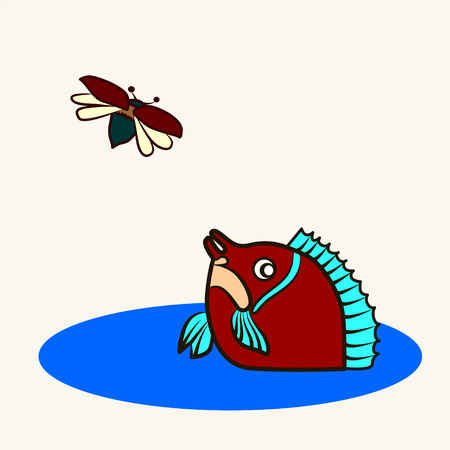 mirror carp: Fun zoo. Cartoon vector Illustration of cute mirror carp