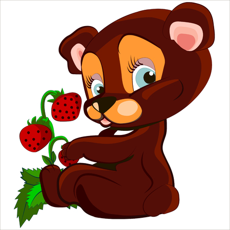 Cute cartoon and vector isolated of cute Bear and strawberry