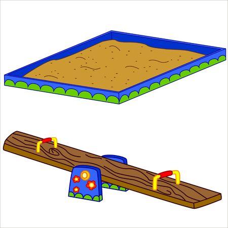 sandpit: Fun playground. Cartoon vector Illustration of playground equipment. Isolated.