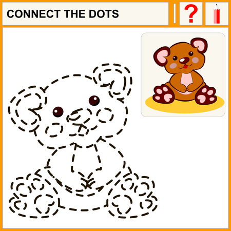 plush: Connect the dots, preschool exercise task for kids, funny plush bear toy Illustration