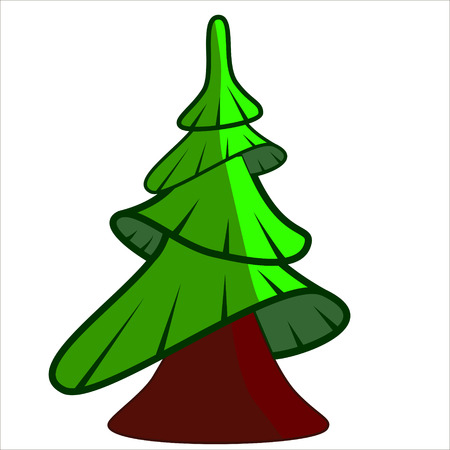 pine trees: Vector isolated illustration, cute cartoon of pine toy Illustration