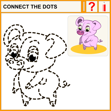 conundrum: Connect the dots, preschool exercise task for kids, pink pig Illustration