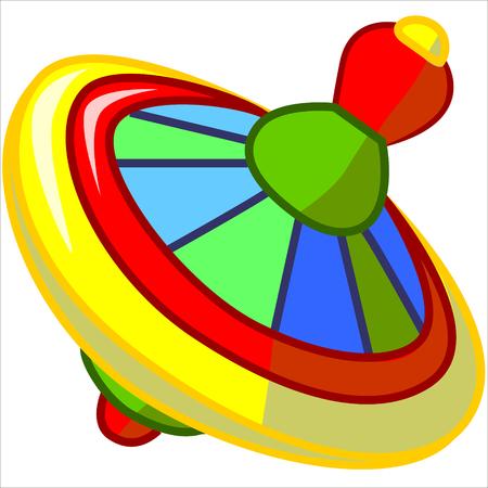 molinete: Vector aislados, ilustraci�n, dibujo animado lindo de perinola amarilla Vectores
