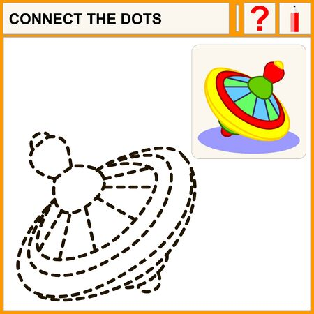 perinola: Une los puntos, tarea de ejercicio para los ni�os de preescolar, perinola Vectores