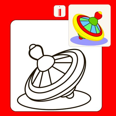 perinola: Coloring Book o P�gina de dibujos animados Ilustraci�n de perinola amarilla.