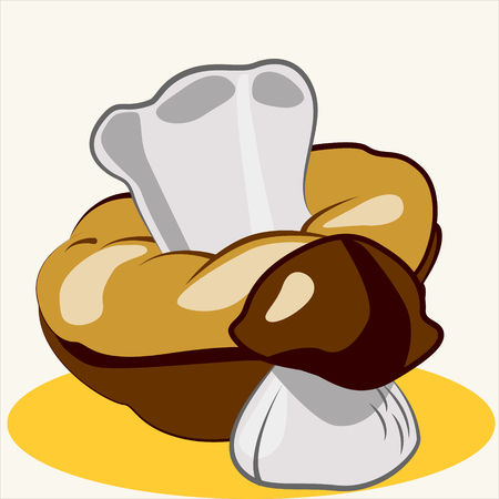 edible: Cartoon vector Illustration of cute edible mushrooms. Ceps.