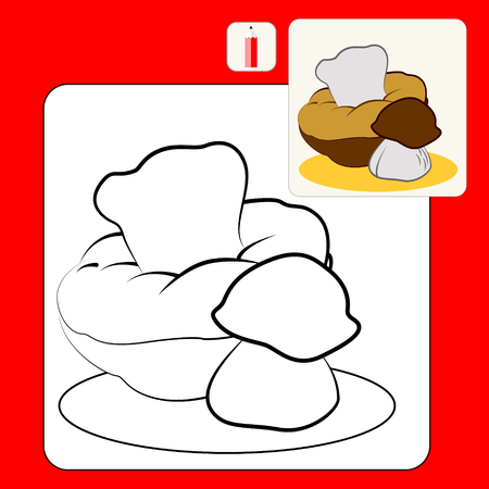 edible: Coloring Book or Page Cartoon Illustration of  cute edible mushrooms. Ceps. Vector isolated. Illustration