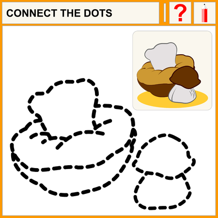 enigma: Connect the dots, preschool exercise task for kids, cute edible mushrooms.  Illustration