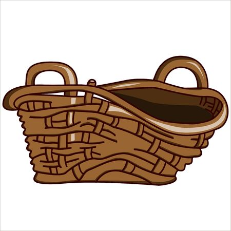 wicker: Vector isolated illustration, an old wicker basket. Illustration