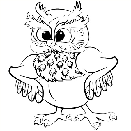 zoos: Vector isolated illustration of cute owl with fluffy ears. Black.