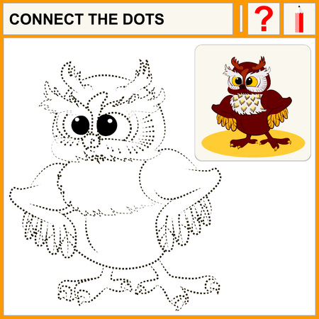 conundrum: Connect the dots, preschool exercise task for kids, cute owl with fluffy ears. Vector isolated. Illustration