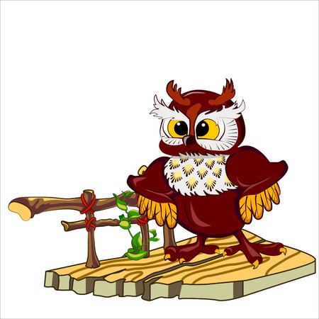 porch: Vector isolated illustration of cute owl with fluffy ears. Standing on the porch