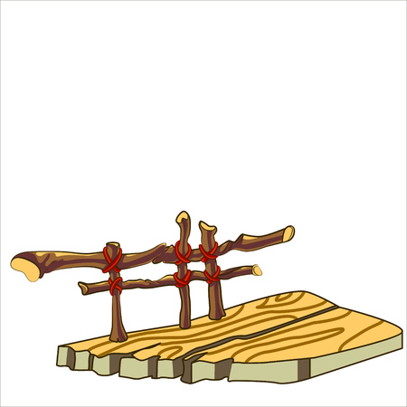 modest: Vector isolated illustration. Cartoon old wood porch.
