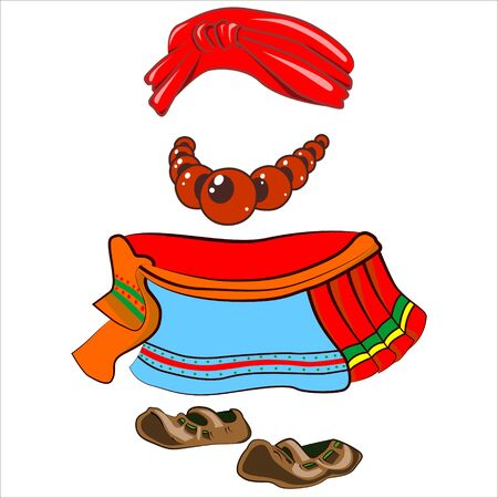 period costume: Vector isolated illustration. Parts woman traditional old costume. Illustration