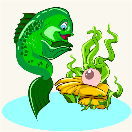 coral fish: Cartoon vector Illustration of  coral fish find luxury pink pearl in the oyster.