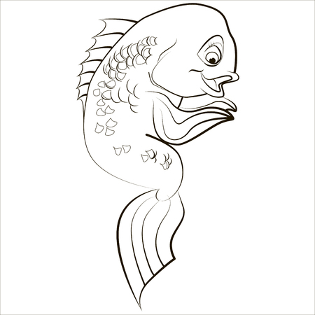 coral fish: Vector isolated illustration of cute exotic coral fish. Black.