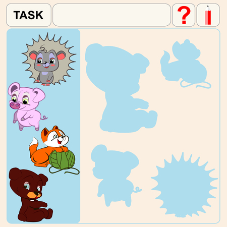 conundrum: Task find right shadows, preschool or school exercise task for kids Illustration