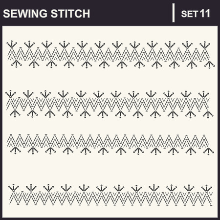 needle lace: Collection of vector illustration sewing stitch patterns