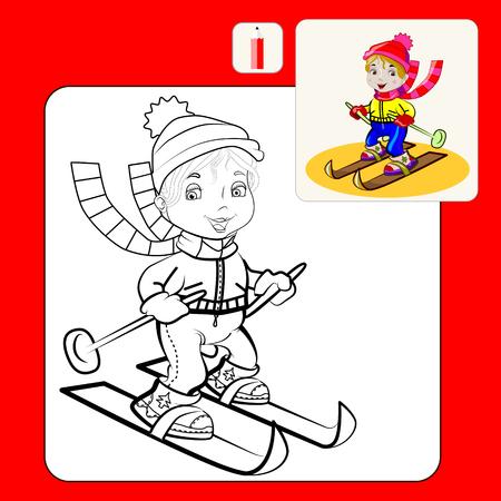 Malbuch Oder Seite Cartoon Illustration Der Schneemann Und Tanne Für ...