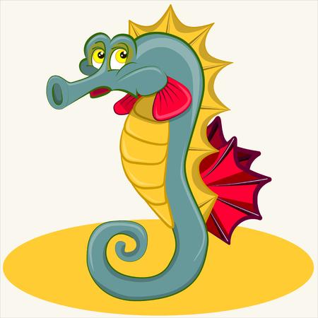 Cartoon vector Illustration.Tropical sea horse  the sad swimming. Sign horsefish.