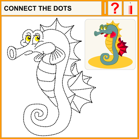 horsefish: Connect the dots, preschool exercise task for kids Tropical sea horse  the sad swimming. Sign horsefish.