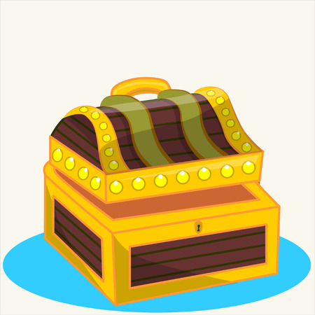 treasure trove: Cartoon vector Illustration.Treasure chest full of gold coins, crystal gems and jewellery. Flat vector illustration and icon. Illustration