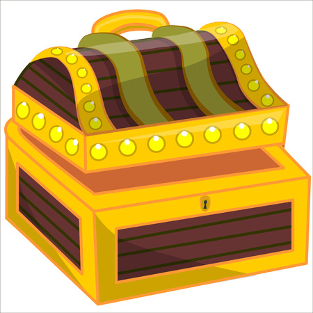 treasure trove: Cartoon vector Illustration. Treasure chest full of gold coins, crystal gems and jewellery. Flat vector illustration and icon. Isolated.