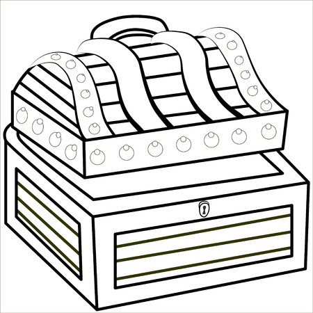 treasure trove: Cartoon vector Illustration.  Treasure chest full of gold coins, crystal gems and jewellery. Flat vector illustration and icon. Isolated. Black. Illustration