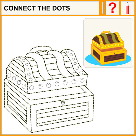treasure trove: Connect the dots, preschool exercise task for kids. Treasure chest full of gold coins, crystal gems and jewellery. Flat vector illustration and icon.
