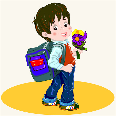 young schoolchild: Cartoon vector Illustration. Cute brown-haired boy with a satchel and a bunch of flowers his arm walking to school.