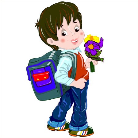 schoolkids: Cartoon vector Illustration. Cute brown-haired boy with a satchel and a bunch of flowers his arm walking to school. Isolated.