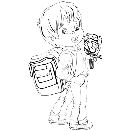 young schoolchild: Cartoon vector Illustration. Cute brown-haired boy with a satchel and a bunch of flowers his arm walking to school. Isolated. Black.