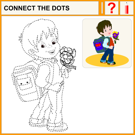 grade school age: Connect the dots, preschool exercise task for kids. Cute brown-haired boy with a satchel and a bunch of flowers his arm walking to school.