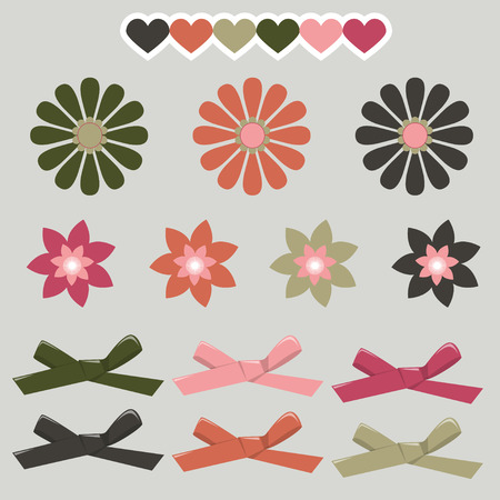 hair bow: Set of graphical decorative ribbon bows. Bow hearts and simple flowers. graphic isolated simple elements. Illustration