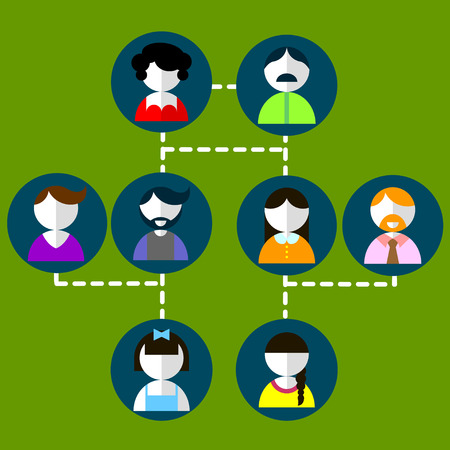 Cartoon illustration of three generation family tree Big family cartoon infographic elements. Ilustrace