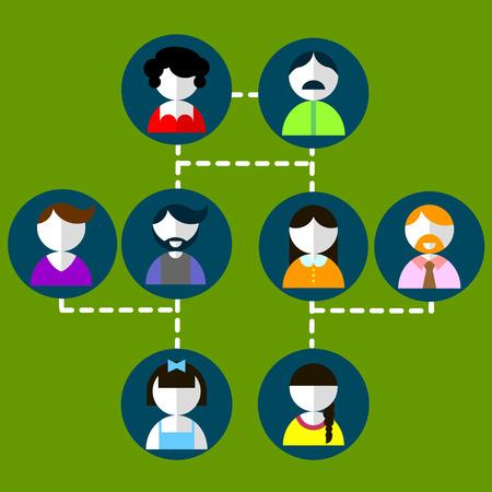 Cartoon illustration of three generation family tree Big family cartoon infographic elements. Illustration