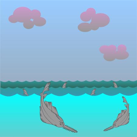 sea saw: Saw fish background. Marine Character. Great white shark.