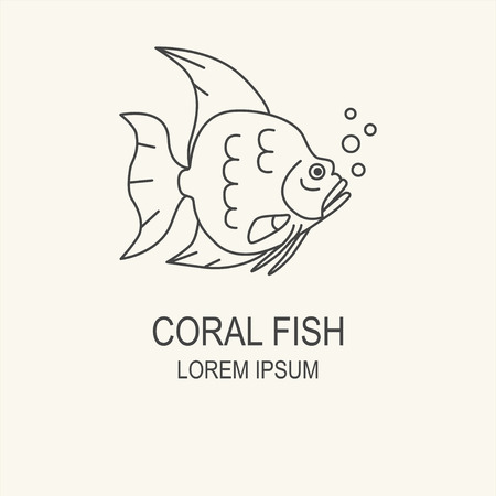 coral and fish: Clean and simple illustration of a coral fish. line style element. Fishing concept or restaurant menu label.
