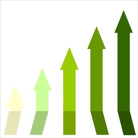 vibes: Green color of graph rising up, indicating positive vibes and direction in business aspects.Growing bars graphic icon