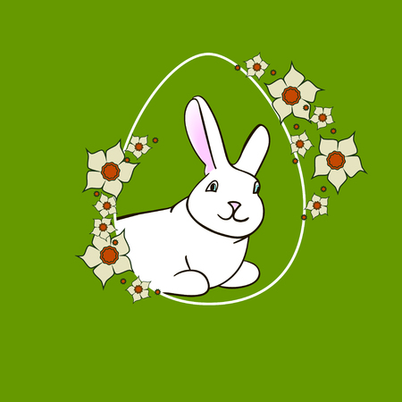 lent: Colorful Happy Easter greeting card with rabbit, bunny, eggs and banners and  lent lily white Illustration