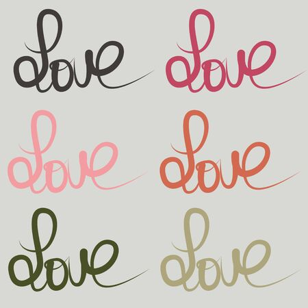 free hand: Big set of free hand letters love text doodles. Decoration element for cards and invitations. Illustration