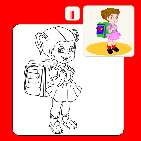 grade school age: Coloring Book. Coloring book pages with cartoon vector illustration.