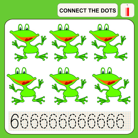conundrum: Connect the dots, preschool exercise task for kids, numbers. Frog. Illustration