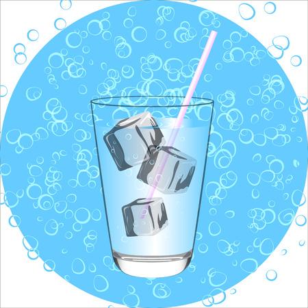 Blue Drink.Water glas whte ijs. Vecktor illustratie.