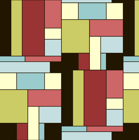 midcentury: Squares pattern in abstract style. Nice colourful tiles. Seamless