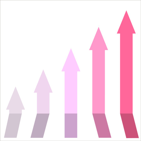 vibes: Pink color of graph rising up, indicating positive vibes and direction in business aspects. Illustration